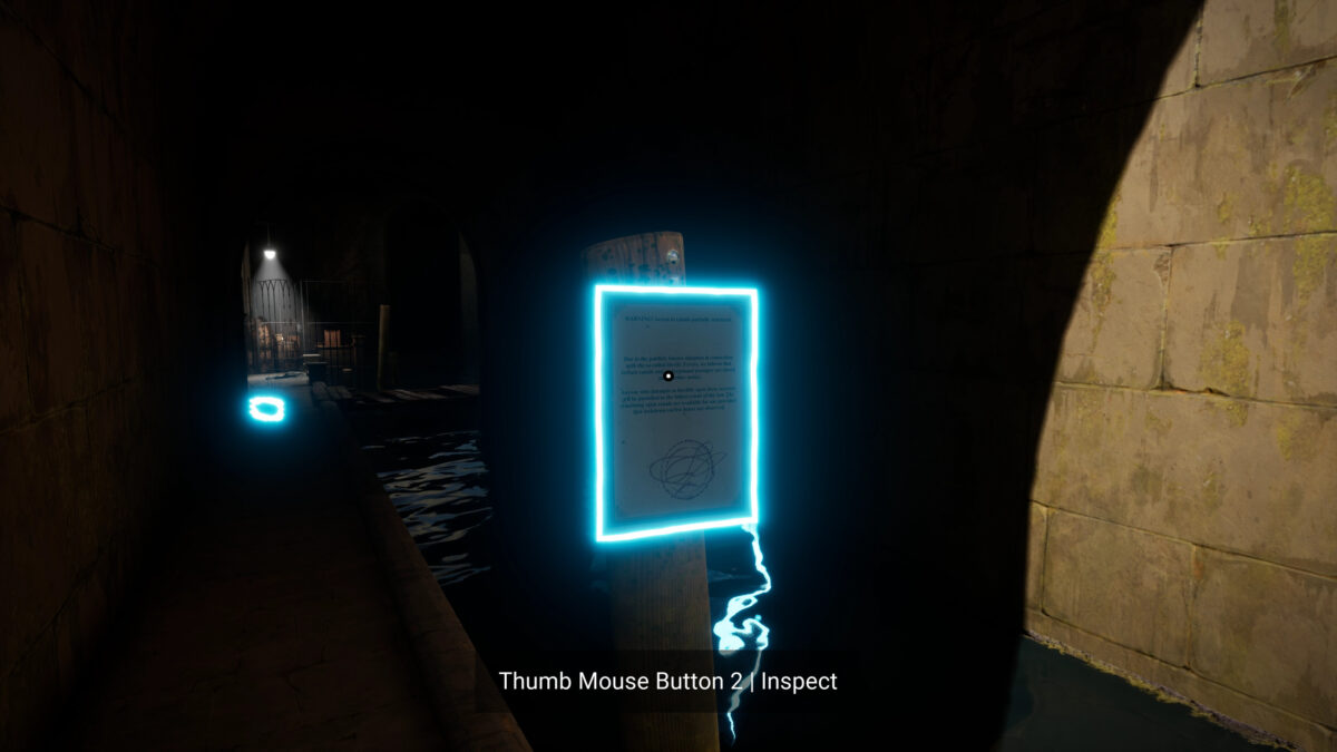 A dark passage under the docks. The sea flood the passage. A signpost is in fron of you, outlined by cyan at Huge size
