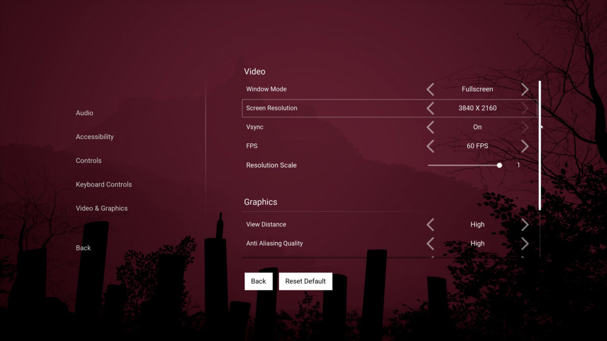 Video and Graphics menu with options for Window Mode, Screen Resolution, Vsync On/Off, Framerate, Resolution Scale and some quality settings